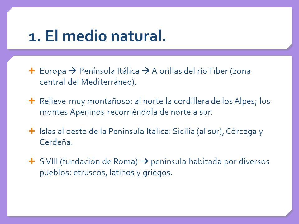 1. El medio natural. Europa  Península Itálica  A orillas del río Tiber (zona central del Mediterráneo).