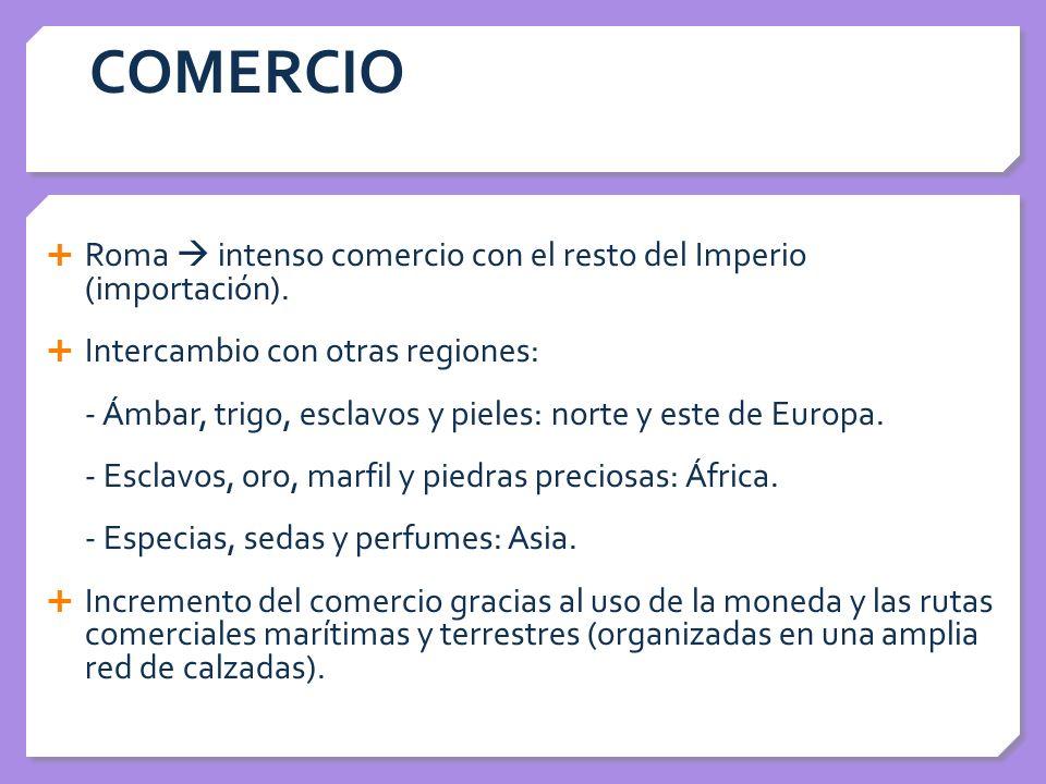 COMERCIO Roma  intenso comercio con el resto del Imperio (importación). Intercambio con otras regiones: