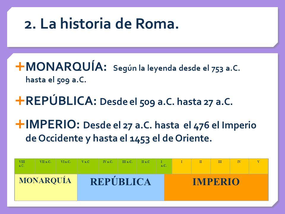 2. La historia de Roma. MONARQUÍA: Según la leyenda desde el 753 a.C. hasta el 509 a.C. REPÚBLICA: Desde el 509 a.C. hasta 27 a.C.