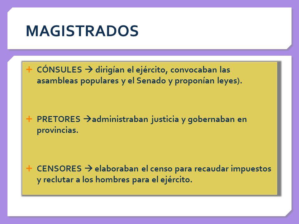 MAGISTRADOS CÓNSULES  dirigían el ejército, convocaban las asambleas populares y el Senado y proponían leyes).