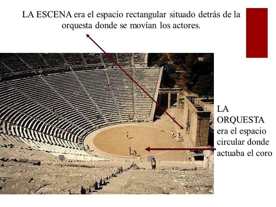 LA ESCENA era el espacio rectangular situado detrás de la orquesta donde se movían los actores.