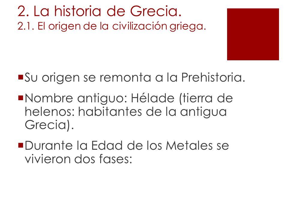 2. La historia de Grecia. 2.1. El origen de la civilización griega.