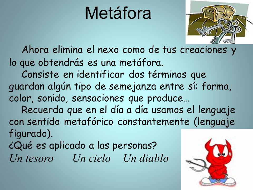 Metáfora Ahora elimina el nexo como de tus creaciones y lo que obtendrás es una metáfora.
