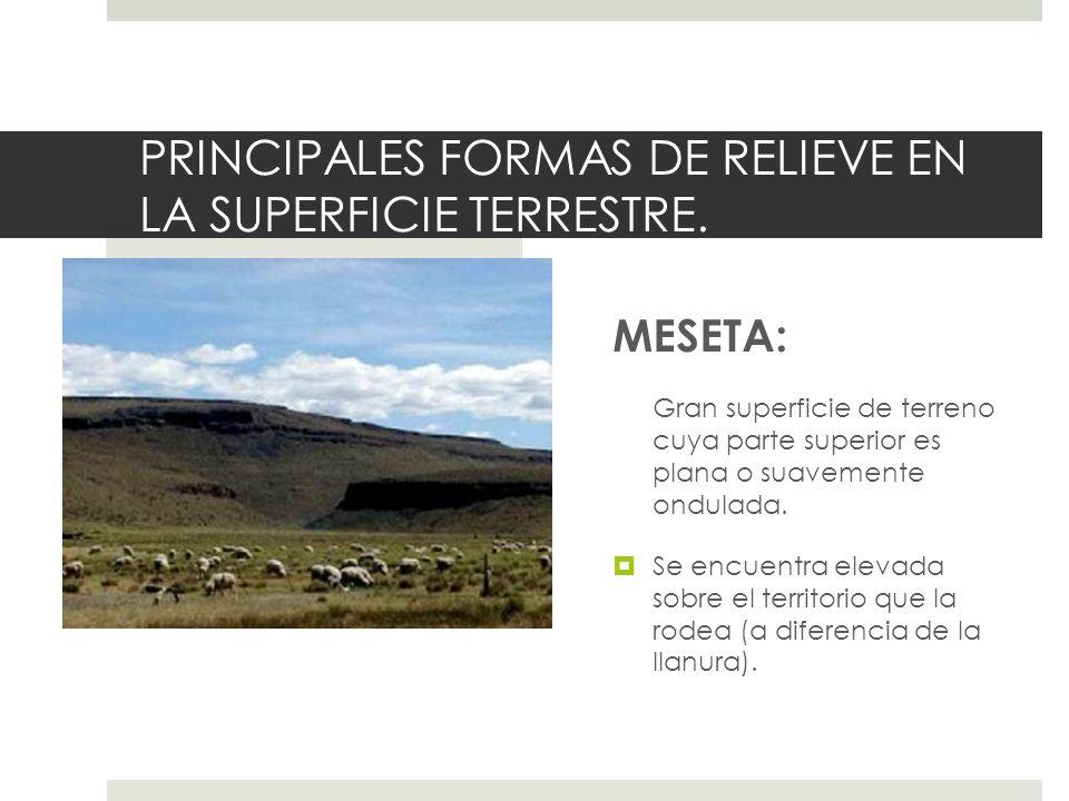PRINCIPALES FORMAS DE RELIEVE EN LA SUPERFICIE TERRESTRE.