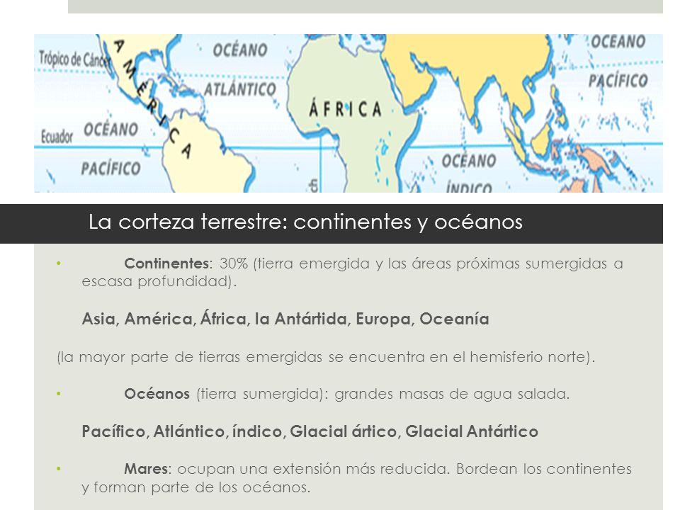 La corteza terrestre: continentes y océanos