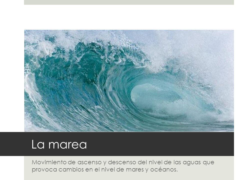La marea Movimiento de ascenso y descenso del nivel de las aguas que provoca cambios en el nivel de mares y océanos.