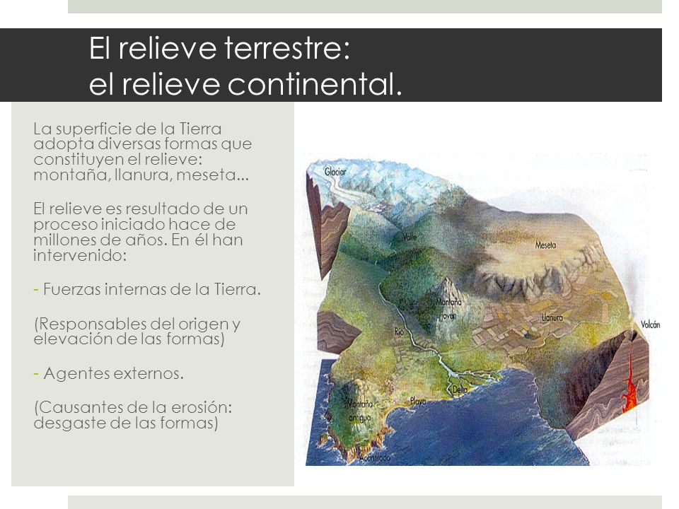 El relieve terrestre: el relieve continental.