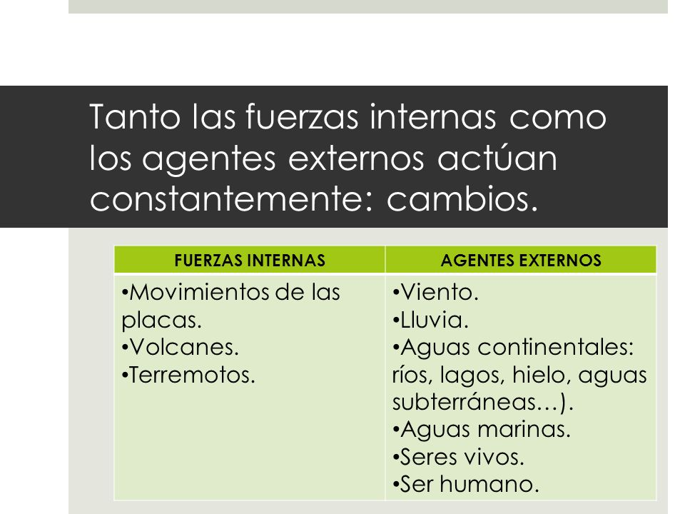 Tanto las fuerzas internas como los agentes externos actúan constantemente: cambios.