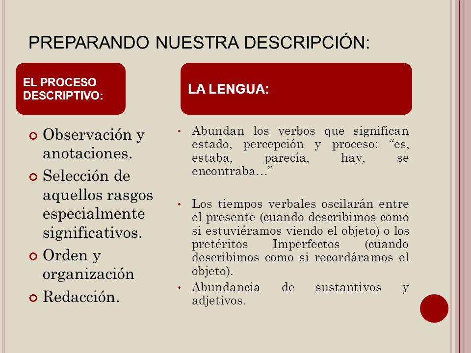 PREPARANDO NUESTRA DESCRIPCIÓN: