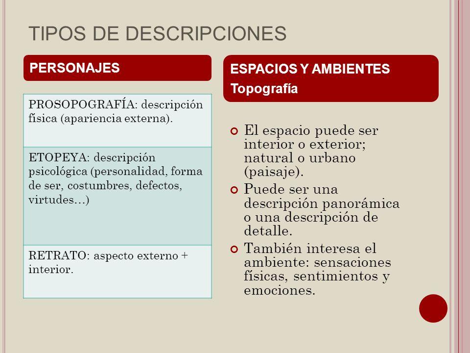 TIPOS DE DESCRIPCIONES