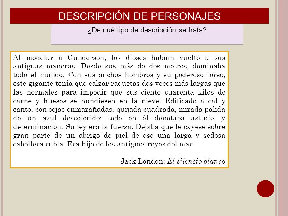 DESCRIPCIÓN DE PERSONAJES