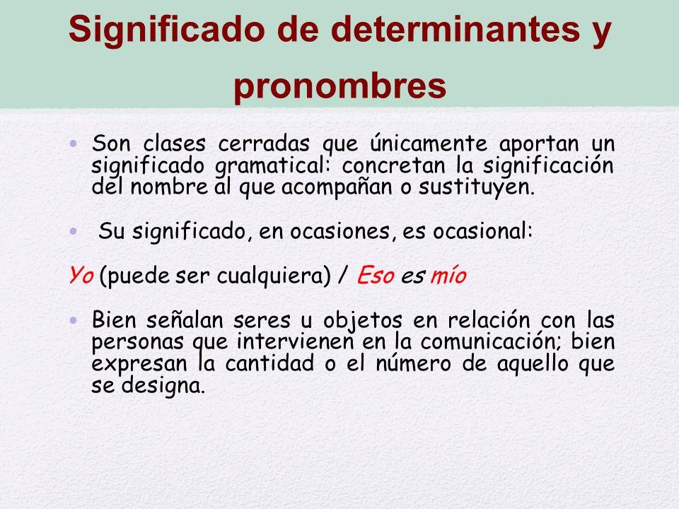 Significado de determinantes y pronombres
