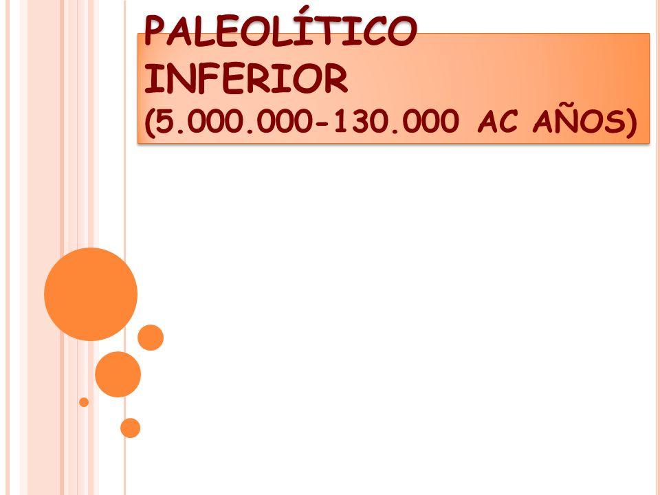PALEOLÍTICO INFERIOR (5.000.000-130.000 AC AÑOS)