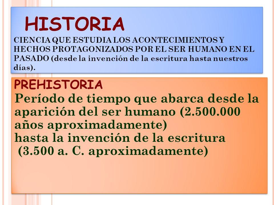 HISTORIA CIENCIA QUE ESTUDIA LOS ACONTECIMIENTOS Y HECHOS PROTAGONIZADOS POR EL SER HUMANO EN EL PASADO (desde la invención de la escritura hasta nuestros días).