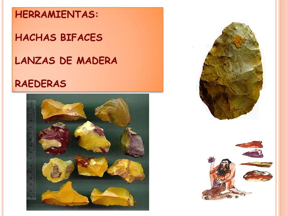 HERRAMIENTAS: HACHAS BIFACES LANZAS DE MADERA RAEDERAS