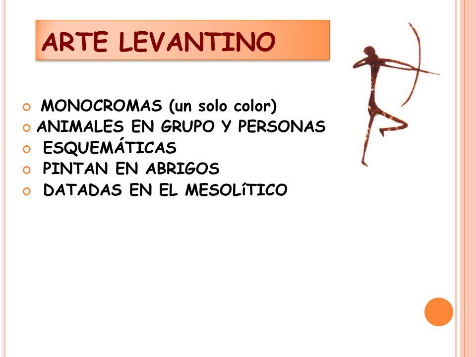 ARTE LEVANTINO MONOCROMAS (un solo color) ANIMALES EN GRUPO Y PERSONAS