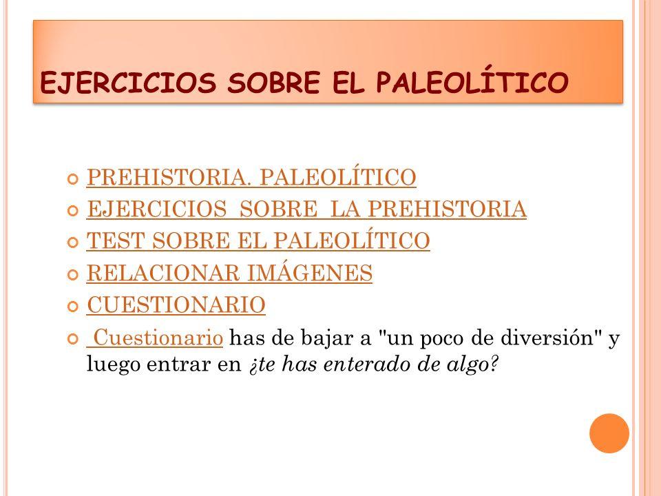 EJERCICIOS SOBRE EL PALEOLÍTICO