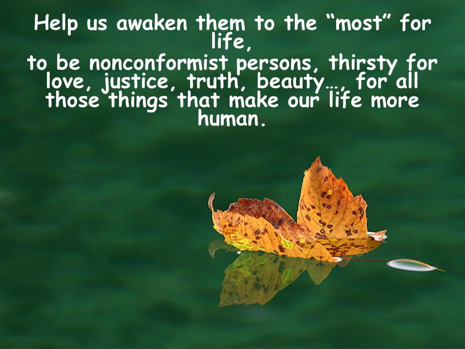 Help us awaken them to the most for life,