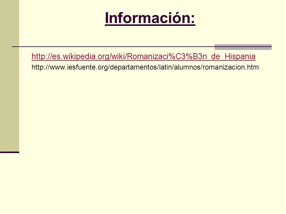 Información:http://es.wikipedia.org/wiki/Romanizaci%C3%B3n_de_Hispania.