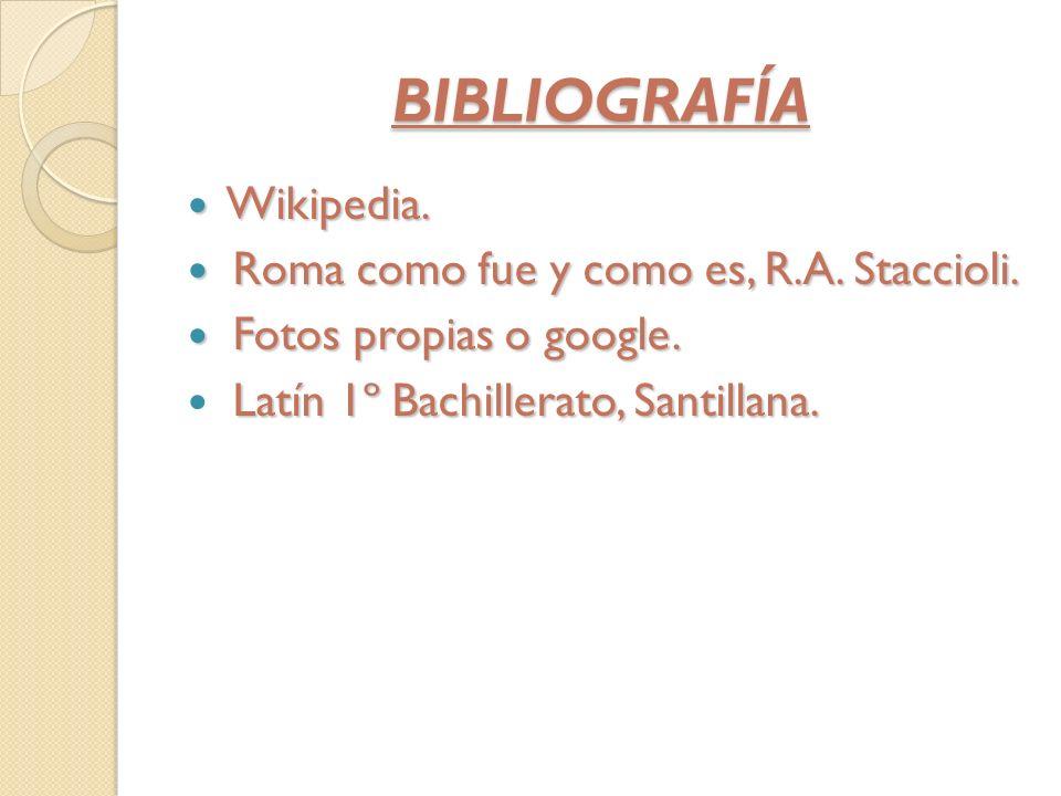 BIBLIOGRAFÍA Wikipedia. Roma como fue y como es, R.A. Staccioli.