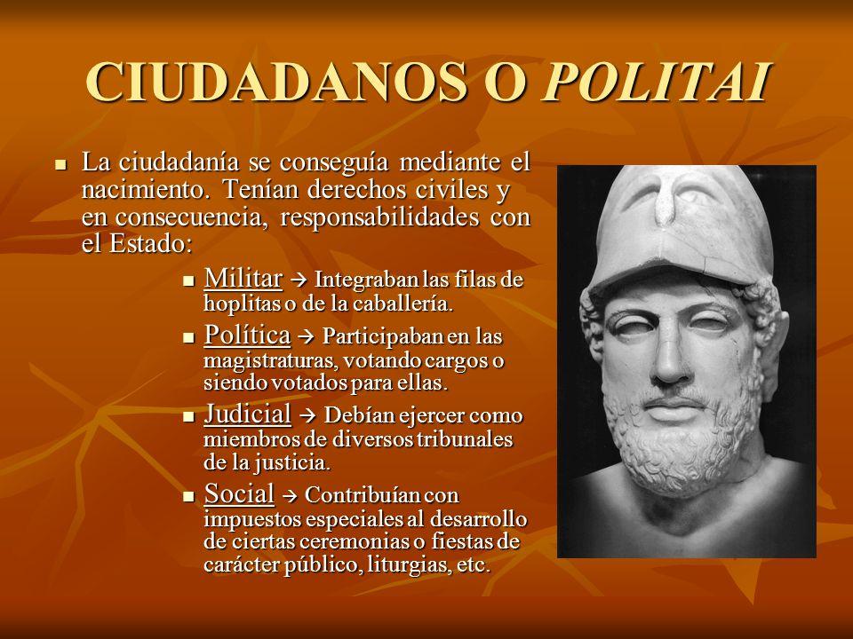 CIUDADANOS O POLITAI La ciudadanía se conseguía mediante el nacimiento. Tenían derechos civiles y en consecuencia, responsabilidades con el Estado: