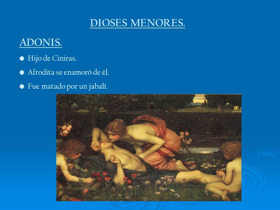DIOSES MENORES. ADONIS. Hijo de Ciniras. Afrodita se enamoró de él.