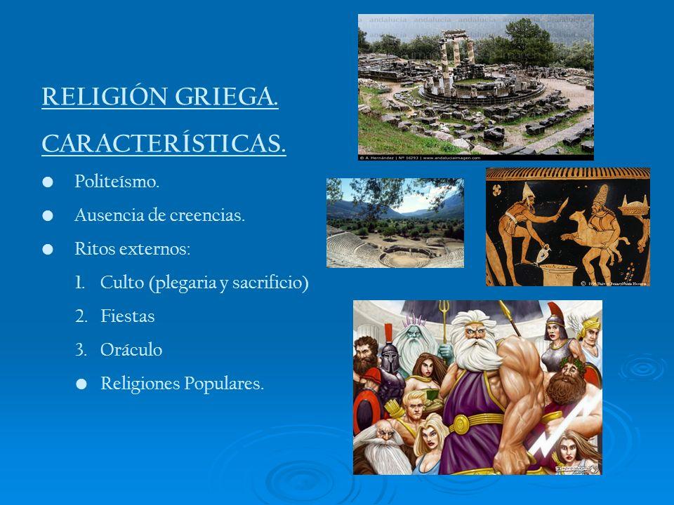 RELIGIÓN GRIEGA. CARACTERÍSTICAS. Politeísmo. Ausencia de creencias.