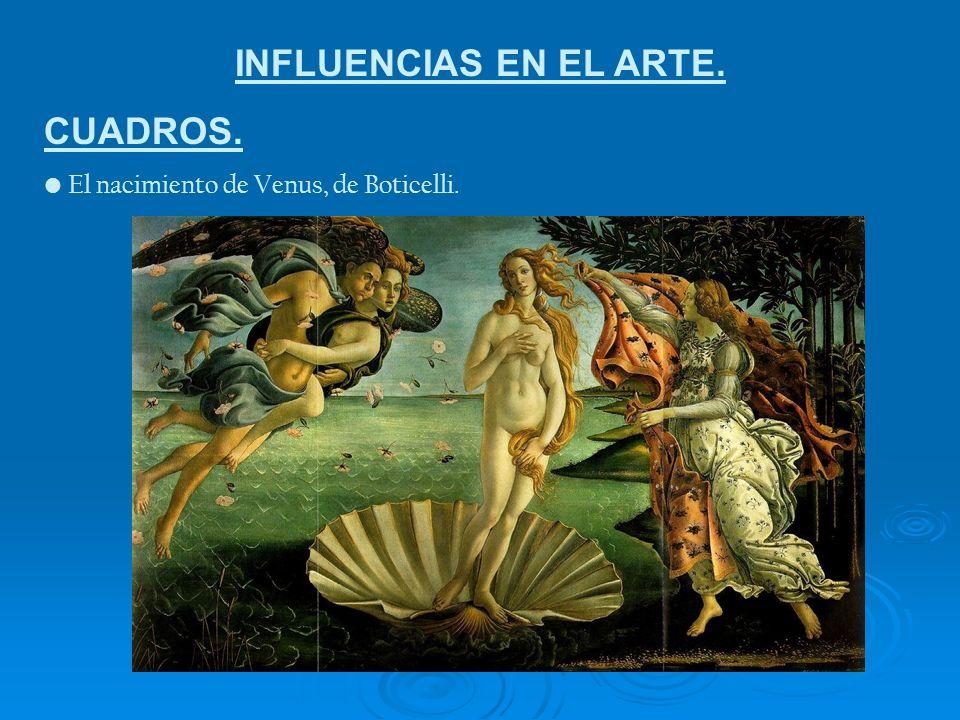 INFLUENCIAS EN EL ARTE. CUADROS. El nacimiento de Venus, de Boticelli.