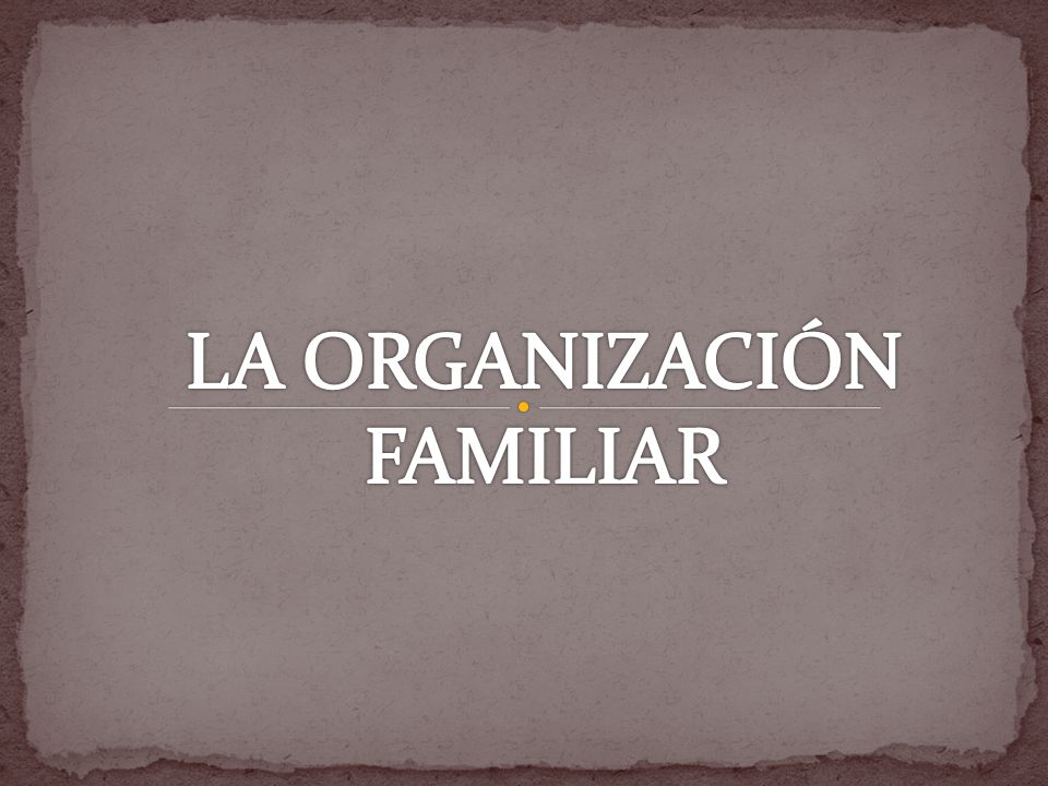 LA ORGANIZACIÓN FAMILIAR