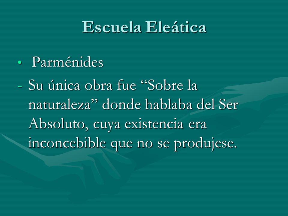 Escuela Eleática Parménides.