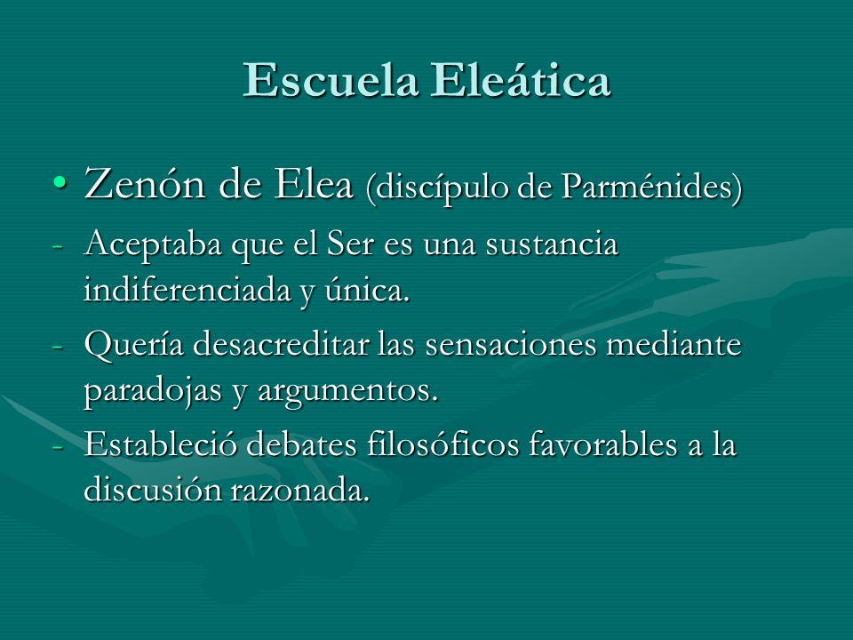 Escuela Eleática Zenón de Elea (discípulo de Parménides)