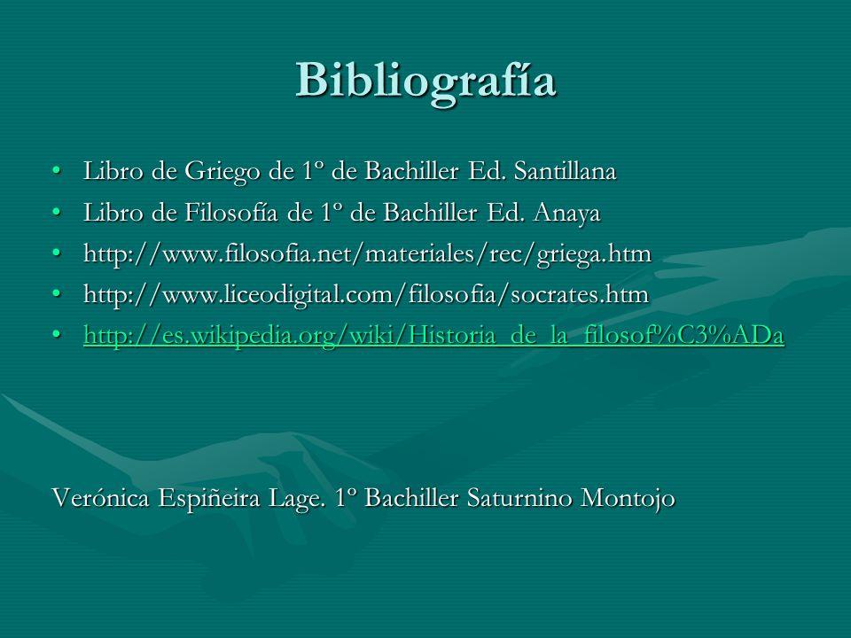 Bibliografía Libro de Griego de 1º de Bachiller Ed. Santillana