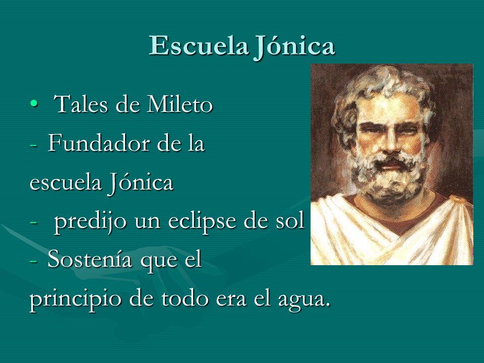 Escuela Jónica Tales de Mileto Fundador de la escuela Jónica
