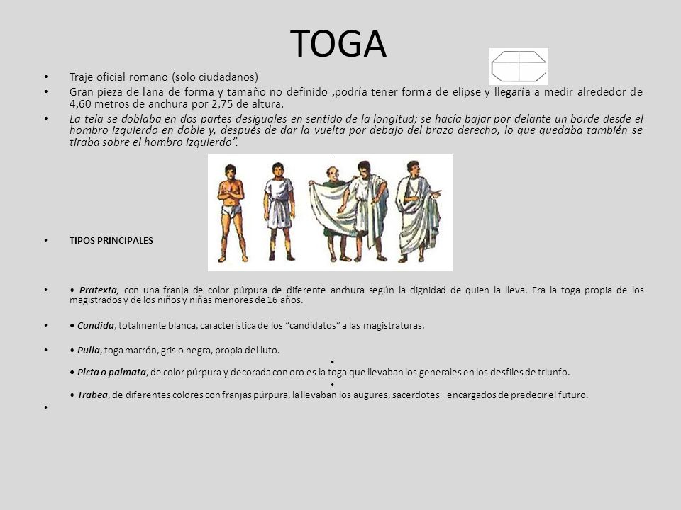 TOGA Traje oficial romano (solo ciudadanos)