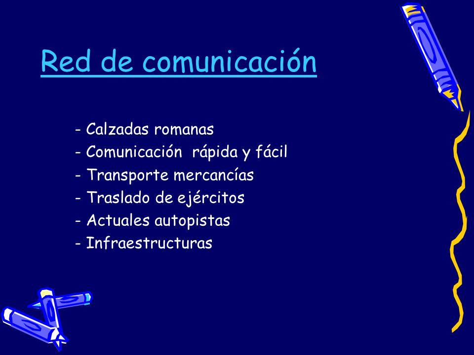 Red de comunicación - Calzadas romanas - Comunicación rápida y fácil