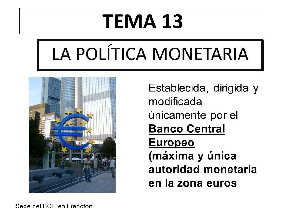 TEMA 13 LA POLÍTICA MONETARIA
