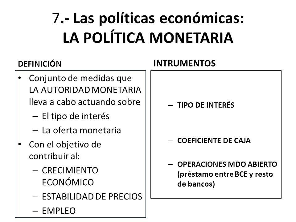 7.- Las políticas económicas: LA POLÍTICA MONETARIA