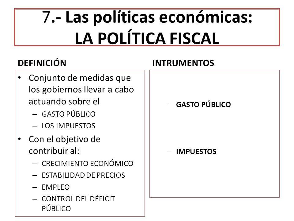 7.- Las políticas económicas: LA POLÍTICA FISCAL