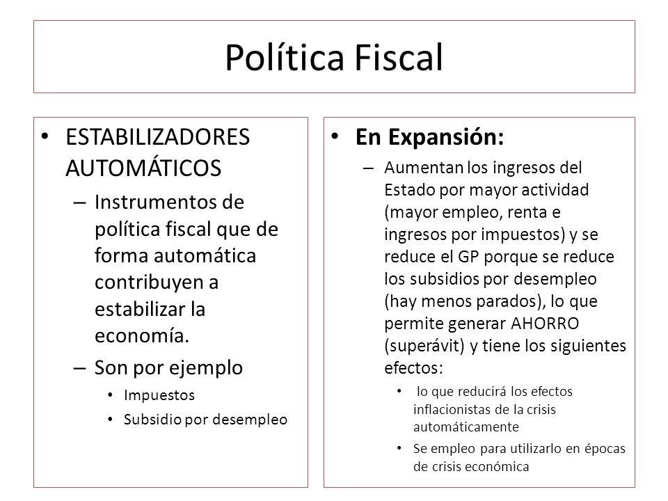 Política Fiscal ESTABILIZADORES AUTOMÁTICOS En Expansión: