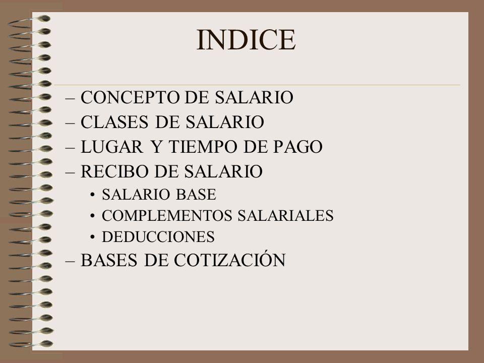 INDICE CONCEPTO DE SALARIO CLASES DE SALARIO LUGAR Y TIEMPO DE PAGO