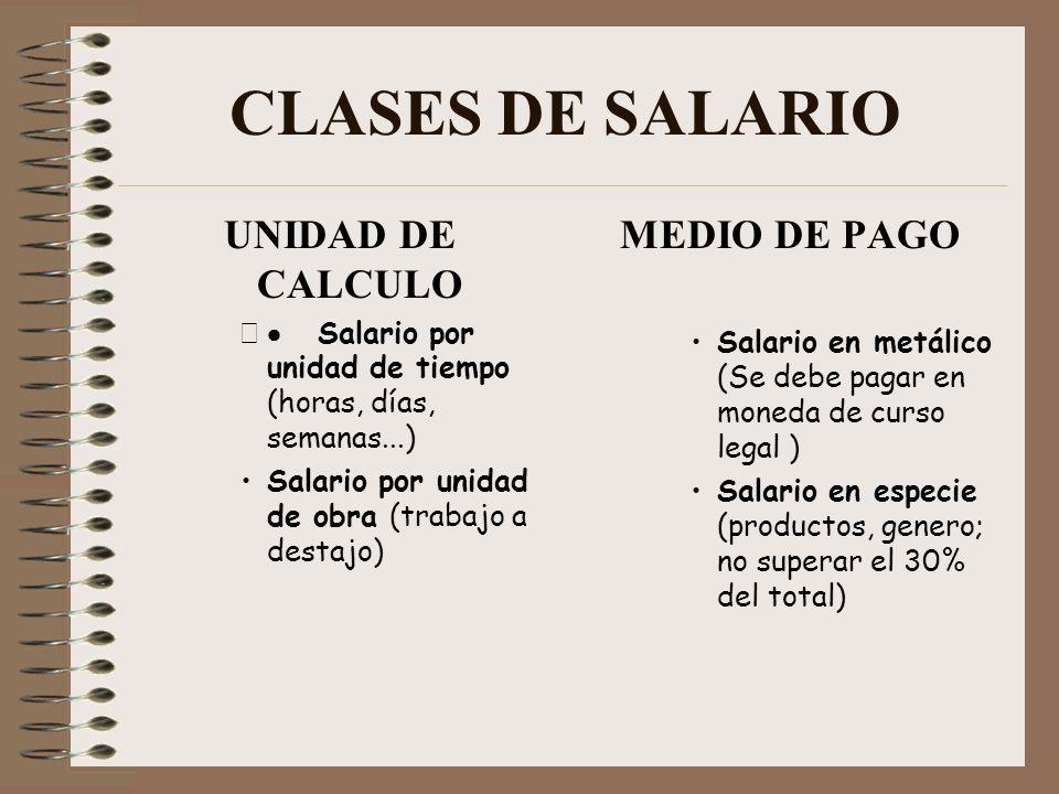 CLASES DE SALARIO UNIDAD DE CALCULO MEDIO DE PAGO
