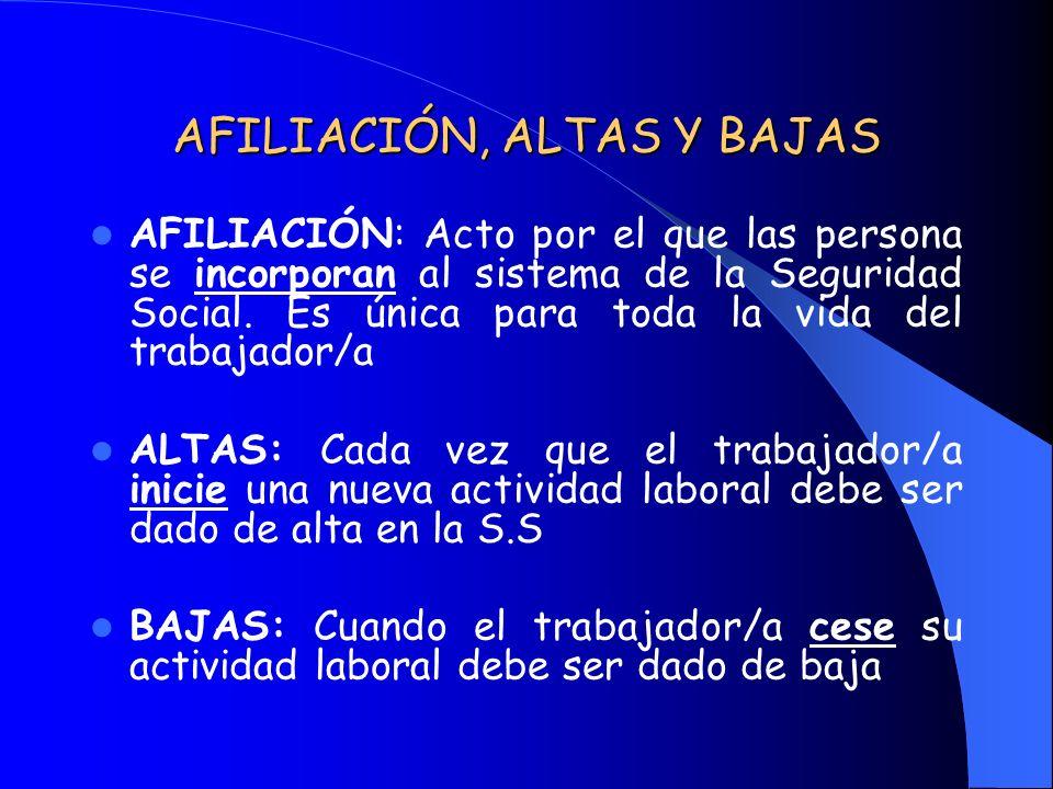 AFILIACIÓN, ALTAS Y BAJAS
