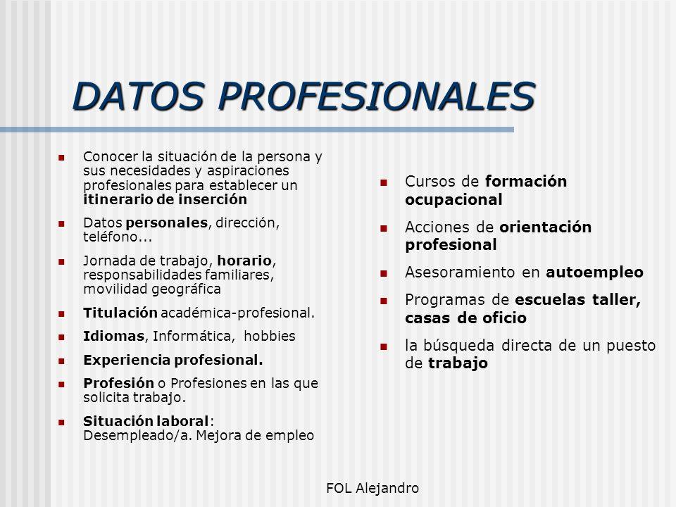 DATOS PROFESIONALES Cursos de formación ocupacional
