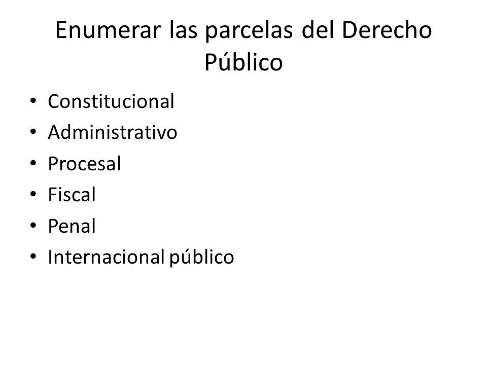 Enumerar las parcelas del Derecho Público