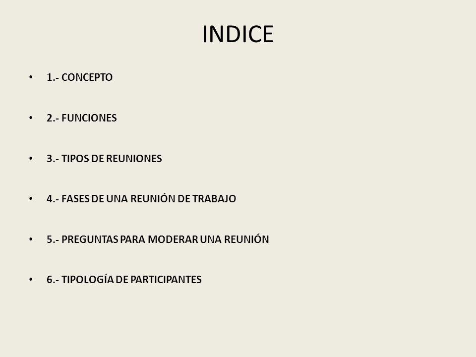INDICE 1.- CONCEPTO 2.- FUNCIONES 3.- TIPOS DE REUNIONES