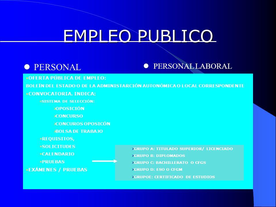 EMPLEO PUBLICO PERSONAL FUNCIONARIO PERSONAL LABORAL