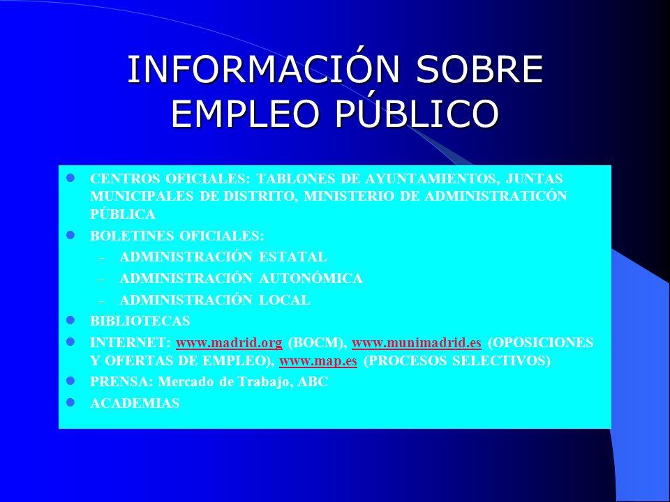 INFORMACIÓN SOBRE EMPLEO PÚBLICO