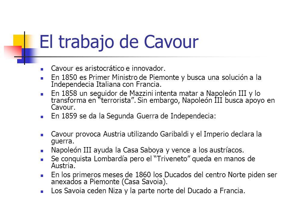 El trabajo de Cavour Cavour es aristocrático e innovador.