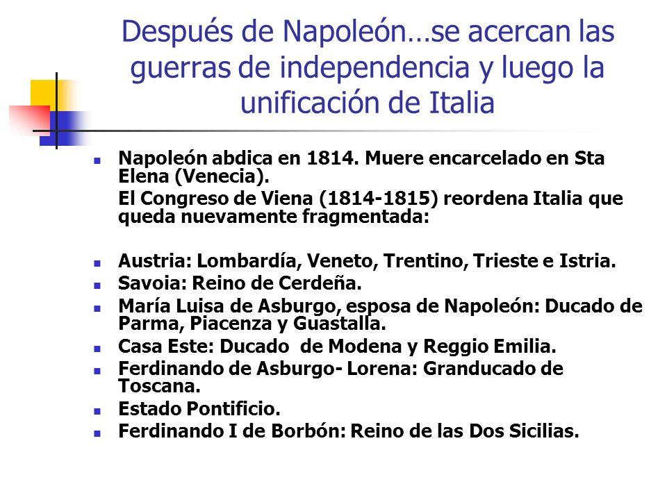 Después de Napoleón…se acercan las guerras de independencia y luego la unificación de Italia