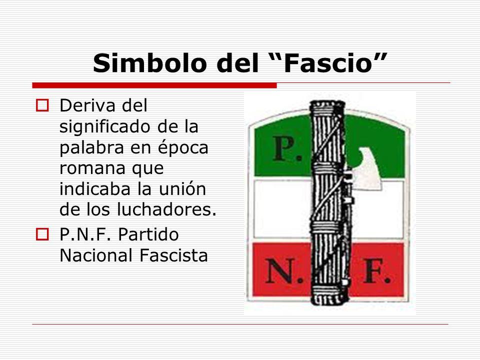 Simbolo del Fascio Deriva del significado de la palabra en época romana que indicaba la unión de los luchadores.